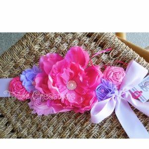 Pink and Lavender Floral wedding maternity sash